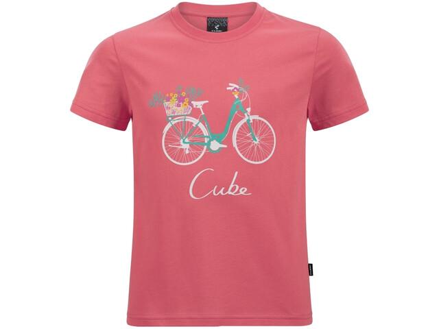 Cube Junior Organic T-Shirt Bloemenfiets Kinderen, coral